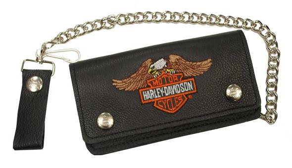 Harley-Davidson Men's Embroidered Winged Eagle B&S Biker Chain Wallet BW808H-4 - Wisconsin Harley-Davidson