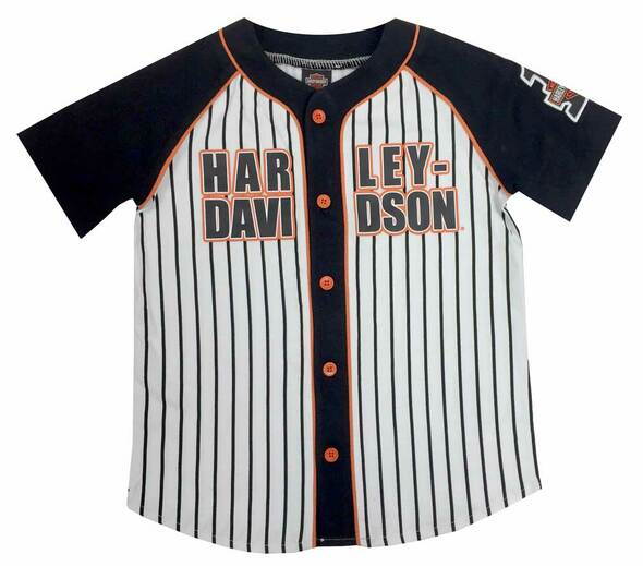 Harley-Davidson Little Boys' Raglan Baseball Jersey, White/Black/Orange 1072529 - Wisconsin Harley-Davidson
