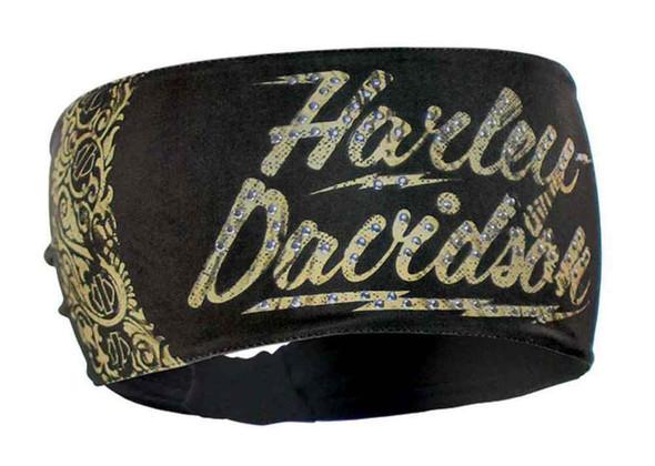 Harley-Davidson Women's Headband, Studded Rhinestone HD Lightning, HP10530 - Wisconsin Harley-Davidson