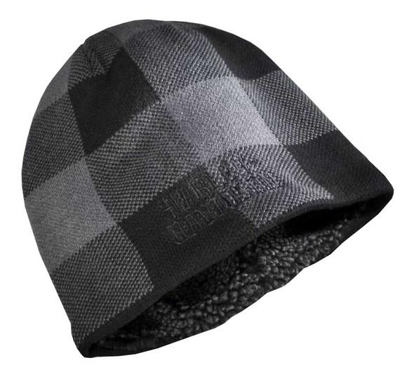 Harley-Davidson Men's Buffalo Checkered Knit Beanie Hat, Gray/Black 97635-16VM - Wisconsin Harley-Davidson