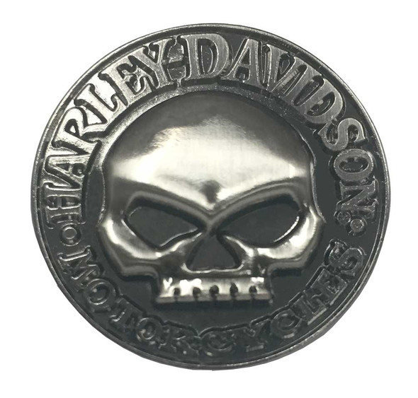 Harley-Davidson Men's Willie G Skull Hubcap Pin, Antique Nickel Finish P1029202 - Wisconsin Harley-Davidson