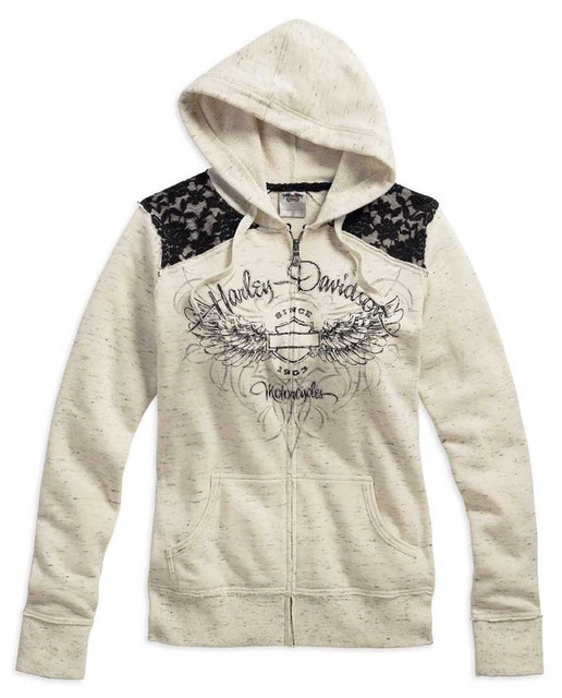 Harley-Davidson Women's Lace Accent Hoodie, Off-White/Black Lace. 99151-16VW - Wisconsin Harley-Davidson