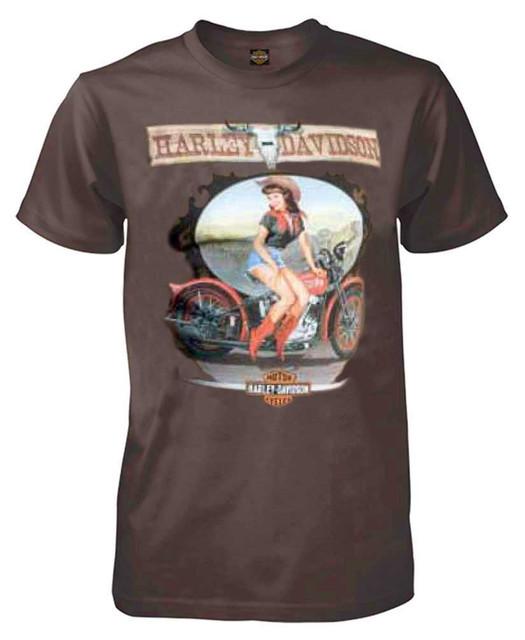 Harley-Davidson Men's Short Sleeve Tee, Canyon Cowgirl Pin-Up Lady, Coffee - Wisconsin Harley-Davidson