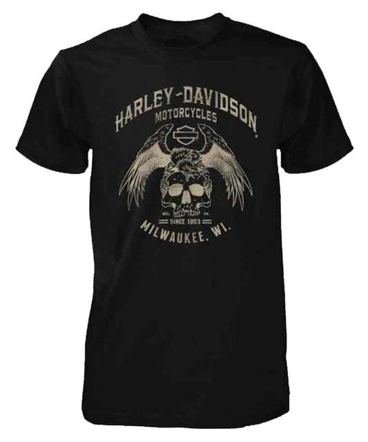 Harley-Davidson Men's Black Label Washed Short Sleeve Edgy Skull Tee, Black - Wisconsin Harley-Davidson