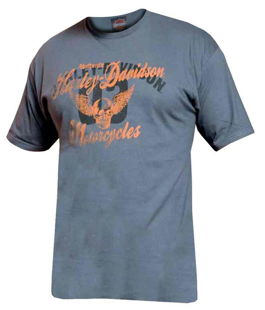 Harley-Davidson Men's Garage Days Winged Skull Short Sleeve Tee, Charcoal - Wisconsin Harley-Davidson