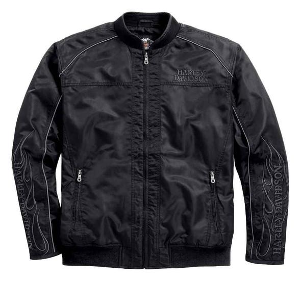 Harley-Davidson Men's Bomber Jacket, Skull & Flames Casual Jacket 98562-15VM - Wisconsin Harley-Davidson