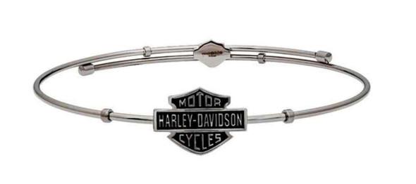 Harley-Davidson Women's Bangle, Bar & Shield Emblem Bracelet, Silver HSB0088-7 - Wisconsin Harley-Davidson