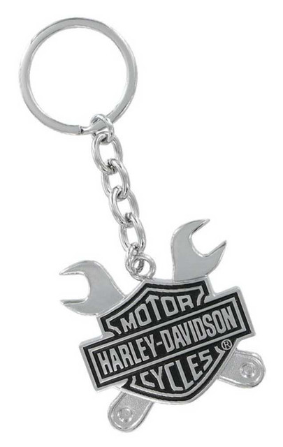 Harley-Davidson Bar & Shield Logo Cross Wrenches 3D Chrome Key Chain HDKD276 - Wisconsin Harley-Davidson