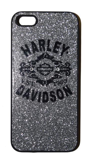 Harley-Davidson iPhone 5/5S Shell, Bar & Shield Silver Glitter Case 06922 - Wisconsin Harley-Davidson