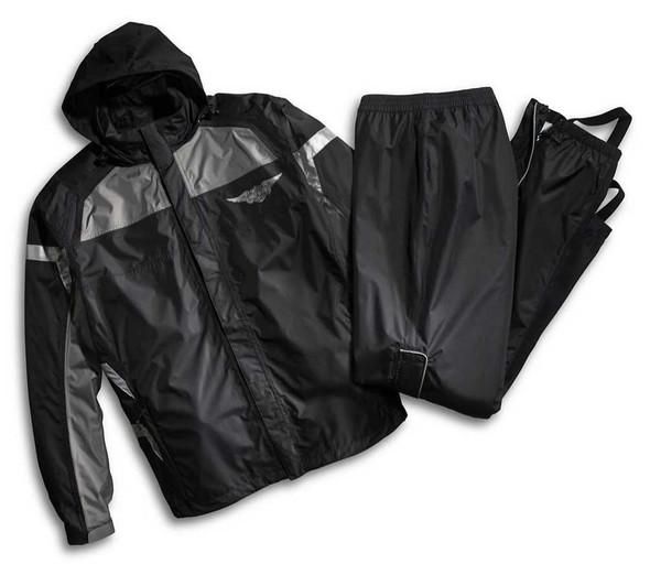 Harley-Davidson Mens Rain Suit, Full Speed Winged B&S Reflective Suit 98336-15VM - Wisconsin Harley-Davidson
