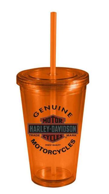 Harley-Davidson Straw Tumbler, Genuine Bar & Shield Double Wall 16oz HD-GMO-1757 - Wisconsin Harley-Davidson