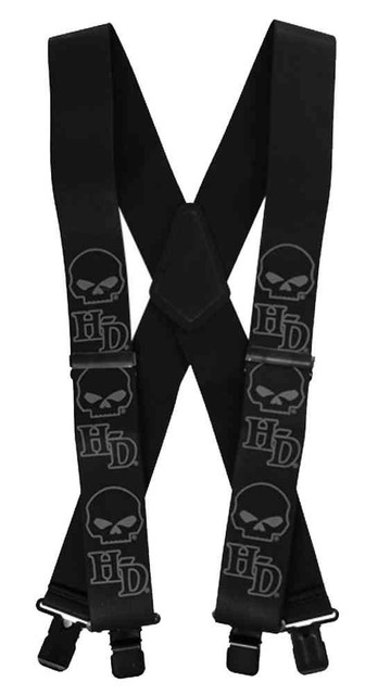 Harley-Davidson Men's Suspenders, Willie G Skull Logo, Long 48 Inch SUS1199305 - Wisconsin Harley-Davidson