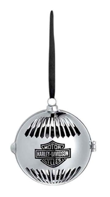 Harley-Davidson Bar & Shield Pierced Chrome Ball Ornament, Silver 96840-16V - Wisconsin Harley-Davidson