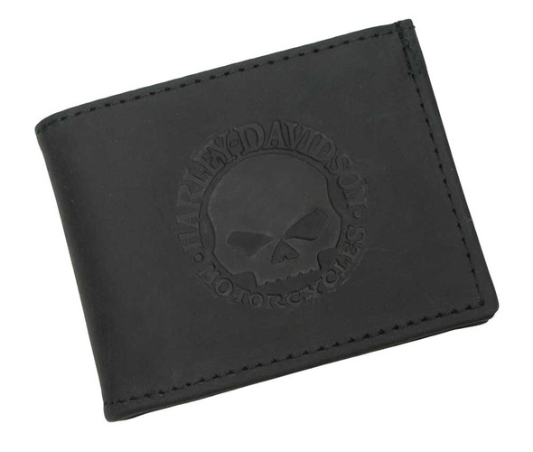 Harley-Davidson Men's Embossed Willie G. Skull Bi-fold Wallet Black FB327H - Wisconsin Harley-Davidson