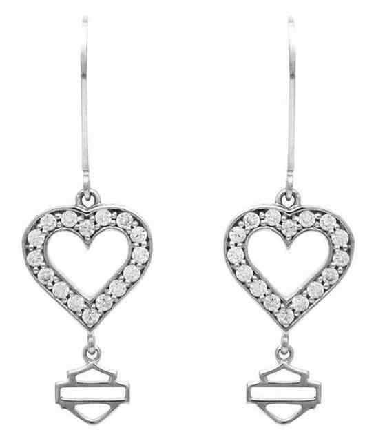 Harley-Davidson Women's Timeless Crystal Heart Drop Earrings, Silver HDE0366 - Wisconsin Harley-Davidson