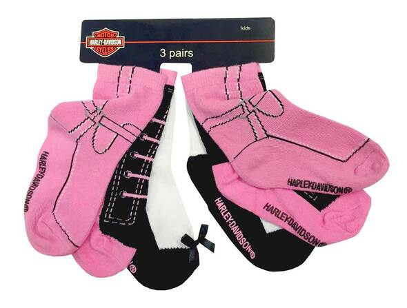Harley-Davidson Little Girls' Knitted-In Shoe Socks, 3 Pairs, Pink/Black 7020409 - Wisconsin Harley-Davidson