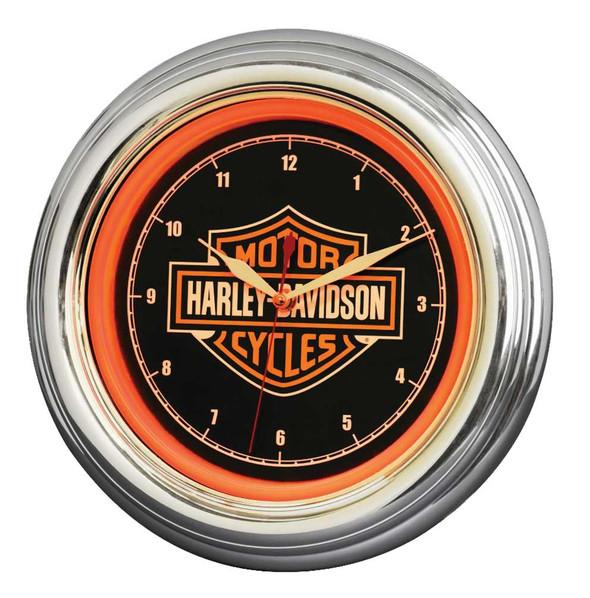 Harley-Davidson Bar & Shield LED Clock, Long Lasting Bright Orange, HDL-16633 - Wisconsin Harley-Davidson