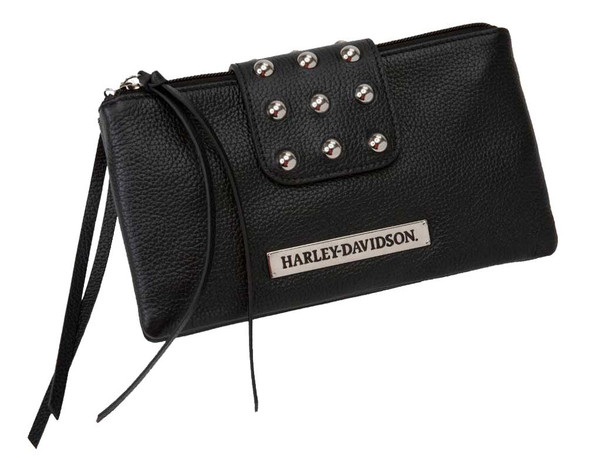 Harley-Davidson Womens Hip Bag Clutch Rider Leather Double Up RD6245L-Black - Wisconsin Harley-Davidson