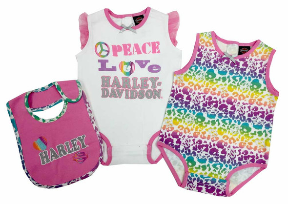 Harley-Davidson Baby Girls' 2 Pk Harley Creeper & Bib Set, White/Pastel 3012505 - Wisconsin Harley-Davidson