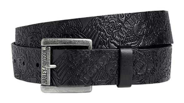 Harley-Davidson Men's Allover Embossed Graphic Belt, Black Leather 97619-16VM - Wisconsin Harley-Davidson