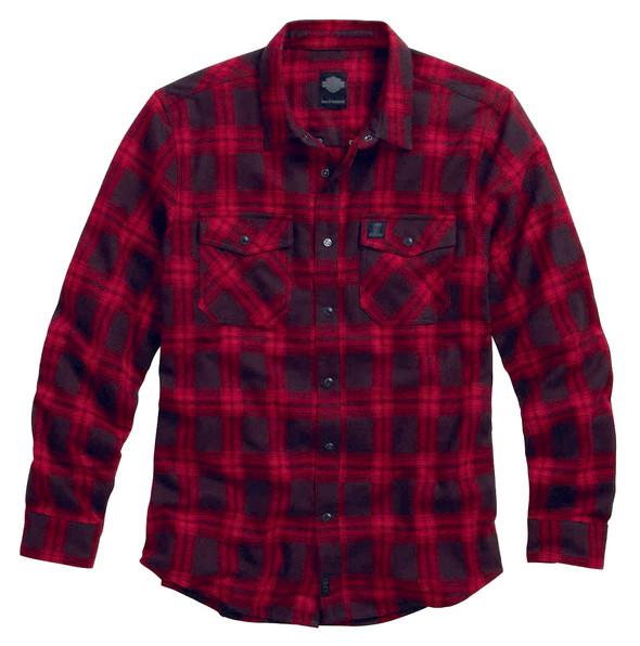 Harley-Davidson Men's Red Plaid Lightweight Flannel Shirt, Black/Red. 99023-16VM - Wisconsin Harley-Davidson