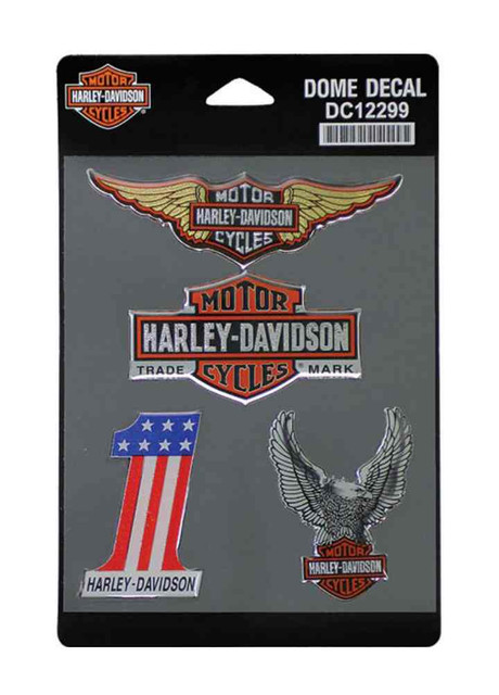 Harley-Davidson Dome Decals, 4 Vintage Collection Iconic Logos DC12299 - Wisconsin Harley-Davidson