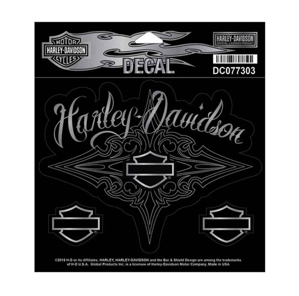 Harley-Davidson Lustrous Bar & Shield H-D Decal, 3 Medium Size Stickers DC077303 - Wisconsin Harley-Davidson
