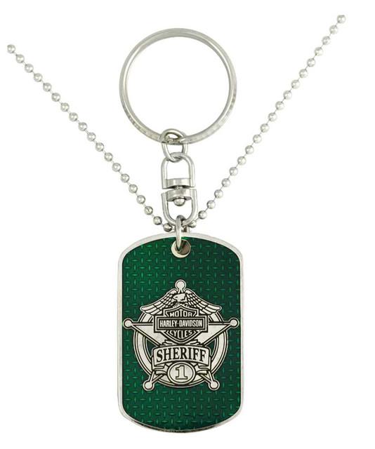 Harley-Davidson Dog Tag, Sheriff Trans Bar & Shield Chain/Key Chain 8002848 - Wisconsin Harley-Davidson