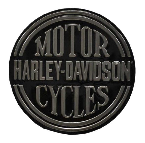 Harley-Davidson Embossed H-D Platinum Disc Round Tin Sign, Black 2010701 - Wisconsin Harley-Davidson