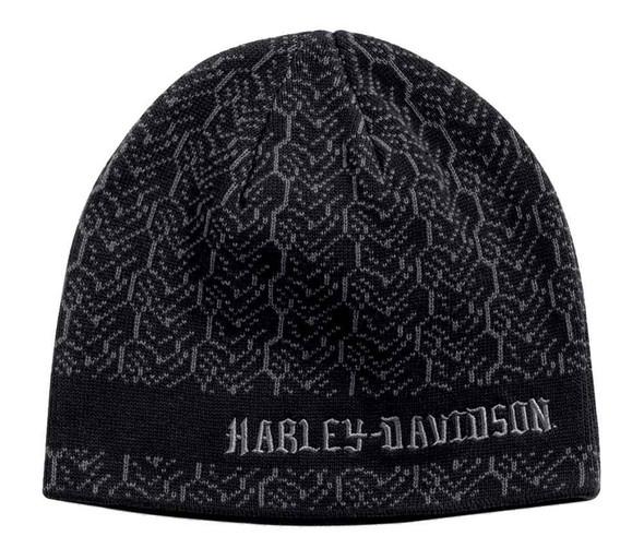 Harley-Davidson Men's Knit-In Tire Tread Knit Beanie Hat, Black 97644-16VM - Wisconsin Harley-Davidson