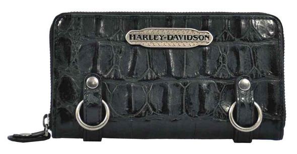 Harley Davidson Womens Black Hammered Croco Zip Clutch Wallet HC7990L-BLK - Wisconsin Harley-Davidson