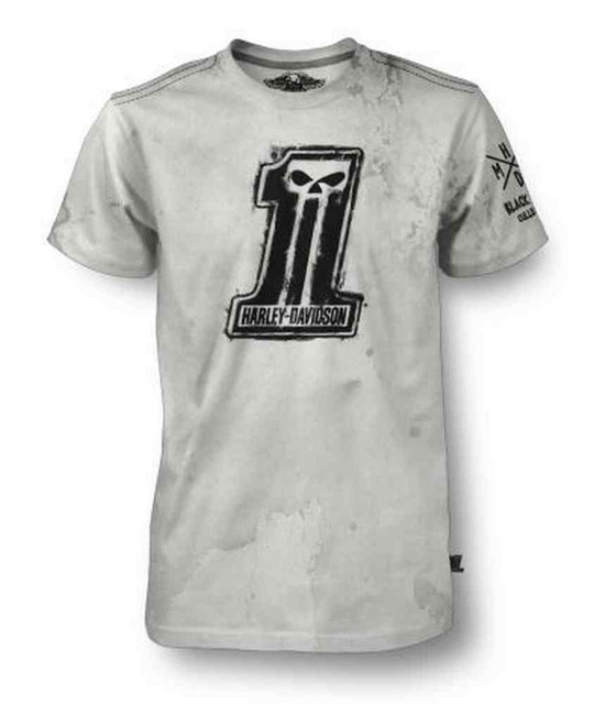 Harley-Davidson Men's Black Label Short Sleeve Painted Greased #1 Skull T-Shirt - Wisconsin Harley-Davidson