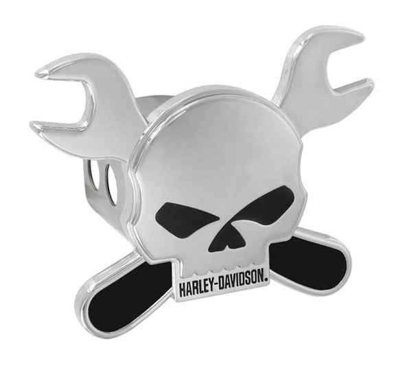 Harley-Davidson Hitch Cover, Willie G Skull & Crossed Wrenches, 2 Inch HDHC275 - Wisconsin Harley-Davidson
