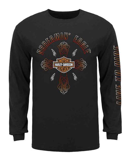 Harley-Davidson Men's Screamin' Eagle Cross Flame Long Sleeve Shirt, HARLMT0232 - Wisconsin Harley-Davidson