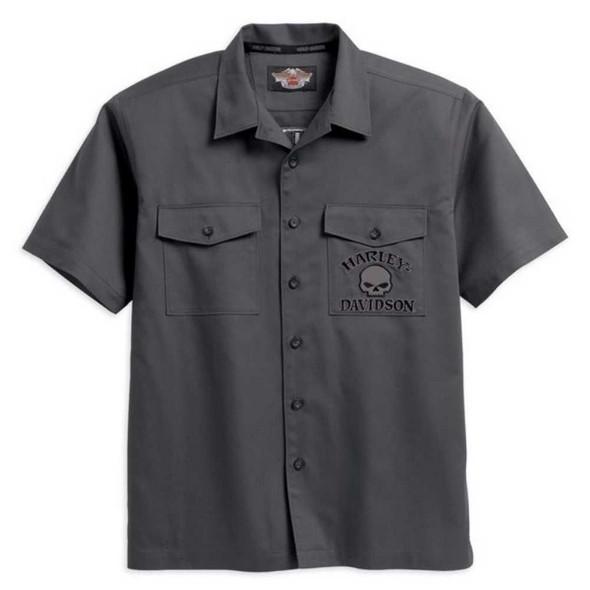 Harley-Davidson Men's Willie G. Skull Garage Short Sleeve Shirt Gray 99010-14VM - Wisconsin Harley-Davidson