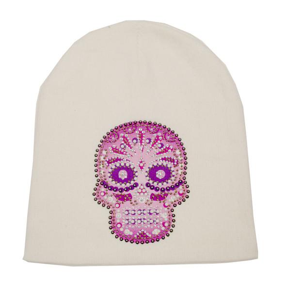 That's A Wrap Women's Beanie, Pink Candy Skull, White Hat B1311-WHITE - Wisconsin Harley-Davidson