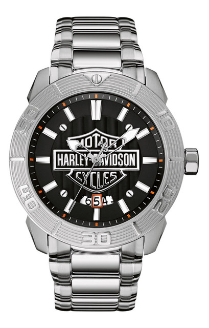 Harley-Davidson Men's Bulova Watch, Embossed Bar & Shield Stainless Steel 76B169 - Wisconsin Harley-Davidson