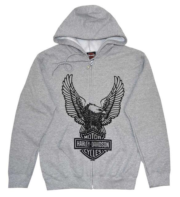Harley-Davidson Men's Hooded Sweatshirt, H-D Eagle Zippered Hoodie Gray 30296664 - Wisconsin Harley-Davidson