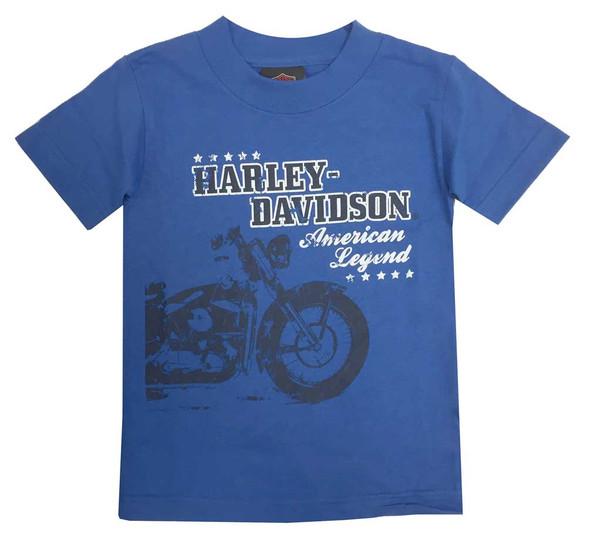 Harley-Davidson Big Boys' American Legend Short Sleeve Youth Tee, Royal Blue - Wisconsin Harley-Davidson