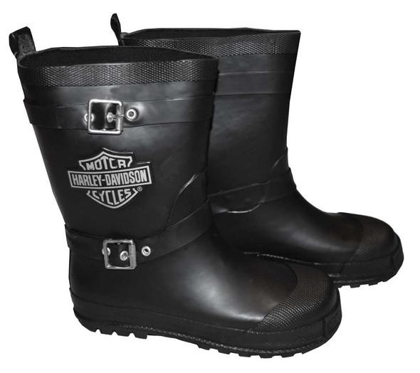 Harley-Davidson Big Boys' Biker Rain Boots, Bar & Shield Black Rubber 3285044 - Wisconsin Harley-Davidson