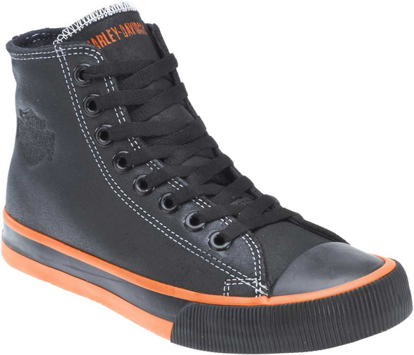 "Harley-Davidson Men's Nathan 4.25"" Black Leather Hi-Top Sneakers D93816 - Wisconsin Harley-Davidson"