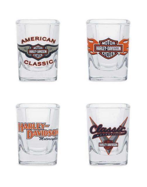 Harley-Davidson Classic Shot Glass Set, 2 oz. Set of 4 Bar Glassware 99209-14V - Wisconsin Harley-Davidson