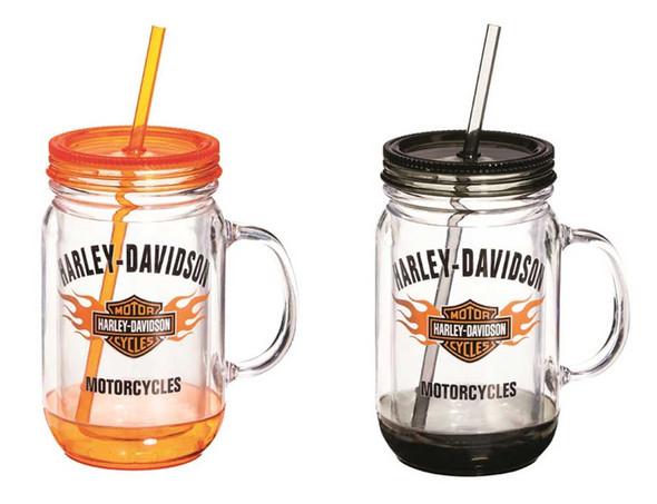 Harley-Davidson Flaming Bar & Shield Mason Jar Cups, 2 Pack Gift Set P24084901 - Wisconsin Harley-Davidson