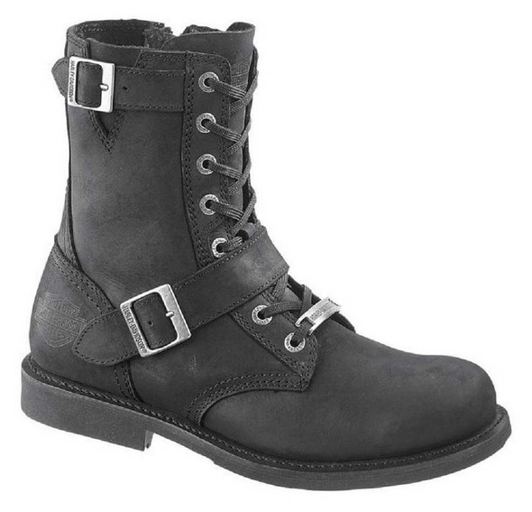 Harley-Davidson Men's Ranger Black 8-Inch Leather Boots, Side Buckles. D95264 - Wisconsin Harley-Davidson