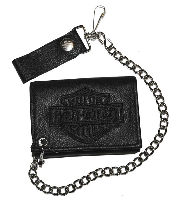 Harley-Davidson Men's Embroidered Tri-Fold Chain Wallet Black Leather TC813H-2B - Wisconsin Harley-Davidson
