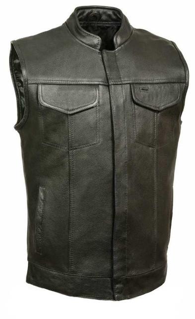 Leather King Men's Open Neck Vest With Hidden Snaps, Black SH2036 - Wisconsin Harley-Davidson