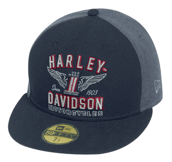 Harley-Davidson Men's #1 Wing 59FIFTY Cap Hat, Colorblock Black/Grey. 99426-16VM - Wisconsin Harley-Davidson