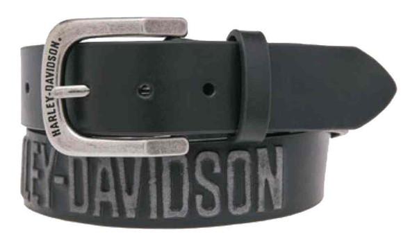 Harley-Davidson Men's Embossed Highway To Hell Leather Belt, Black HDMBT10853BLK - Wisconsin Harley-Davidson