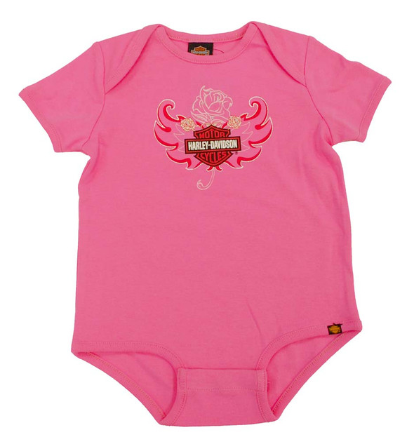 Harley-Davidson Baby Girls' Rose Bar & Shield Creeper S9LGI52HD - Wisconsin Harley-Davidson