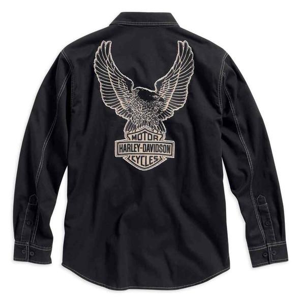 Harley-Davidson Men's Genuine Classics Eagle LS Woven Shirt, Black. 99010-16VM - Wisconsin Harley-Davidson